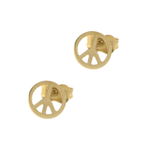 14k Yellow Gold Peace Sign Circle Stud Earrings