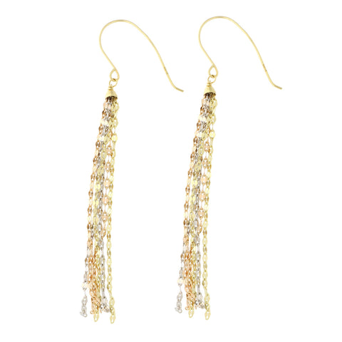 14k Yellow, White and Rose Gold Tri-Color Diamond Cut Multi-Strand Tassel Dangle Earrings