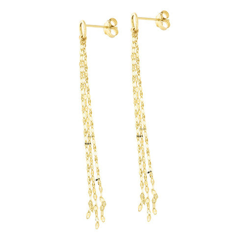 14k Yellow Gold Diamond Cut Multi-Strand Open Circle Dangle Earrings