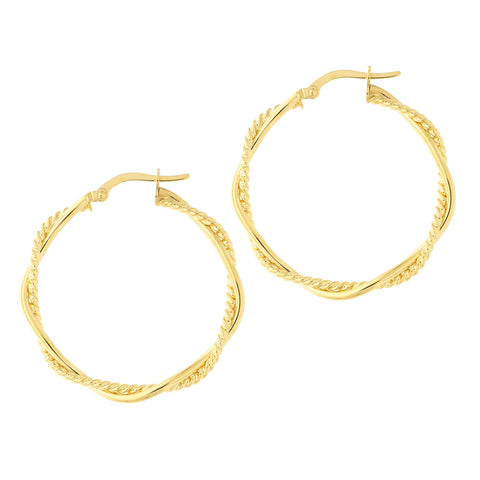 14k Yellow Gold Twisted Textured Hoop Earrings, 32mm