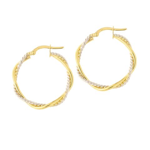 14k Yellow and White Gold Two-Tone Twisted Textured Hoop Earrings, 25.5mm