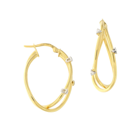 14k Yellow and White Gold Diamond Cut Accent Criss Cross Free Form Hoop Earrings, 28mm