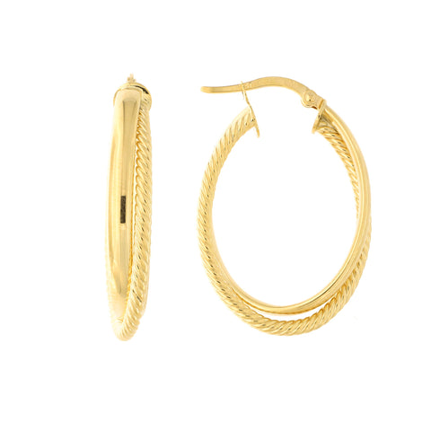 14k Yellow Gold Fancy Twisted Oval Hoop Earrings, 29mm