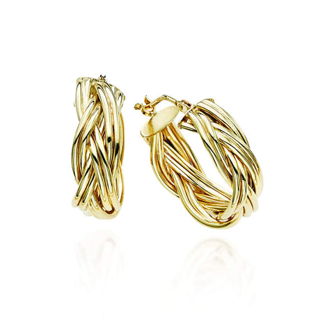 14k Yellow Gold Braided Hoop Earrings