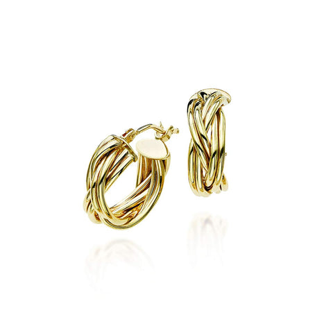 14k Yellow Gold Small Braided Hoop Earrings