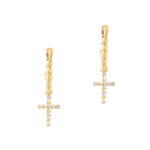 14k Yellow and White Gold Two Tone Diamond Cut Cross Huggie Hoop Earrings
