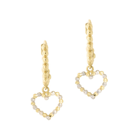 14k Yellow and White Gold Two Tone Diamond Cut Open Heart Huggie Hoop Earrings