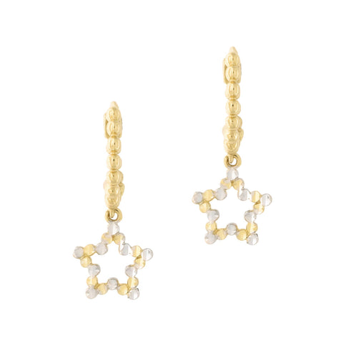 14k Yellow and White Gold Two Tone Diamond Cut Star Huggie Hoop Earrings