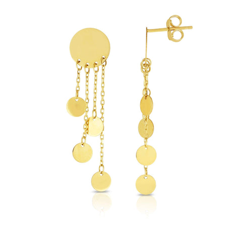 14k Yellow Gold Circle Multi-Strand Chain Disc Dangle Earrings