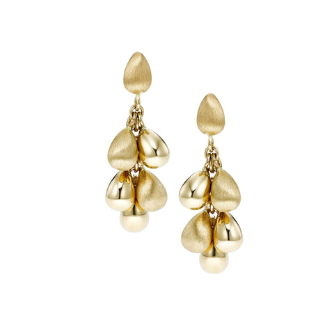 14k Yellow Gold Satin Finish Teardrop Dangle Earrings