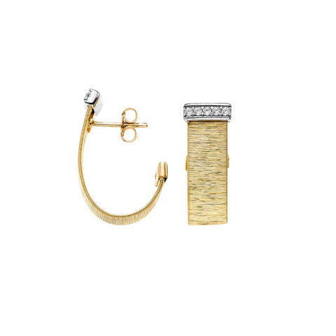 14k Yellow and White Gold Two-Tone 0.21ct Diamond Brushed Italian Silk Huggie Stud Earrings