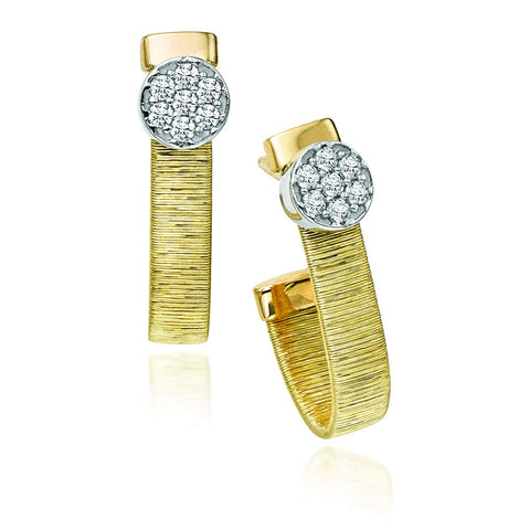 14k Yellow and White Gold Two-Tone 0.15ct Diamond Brushed Italian Silk Huggie Stud Earrings