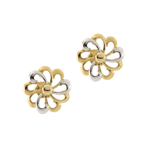 14k Yellow and White Gold Two Tone Flower Stud Earrings