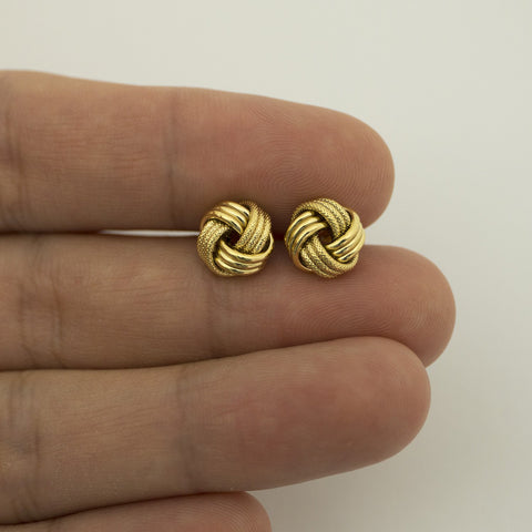 14k Yellow Gold 9mm Textured Love Knot Earrings