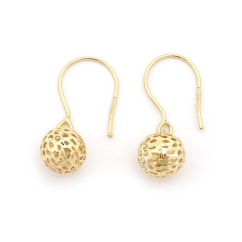 14k Yellow Gold Small Mesh Ball Dangle Earrings