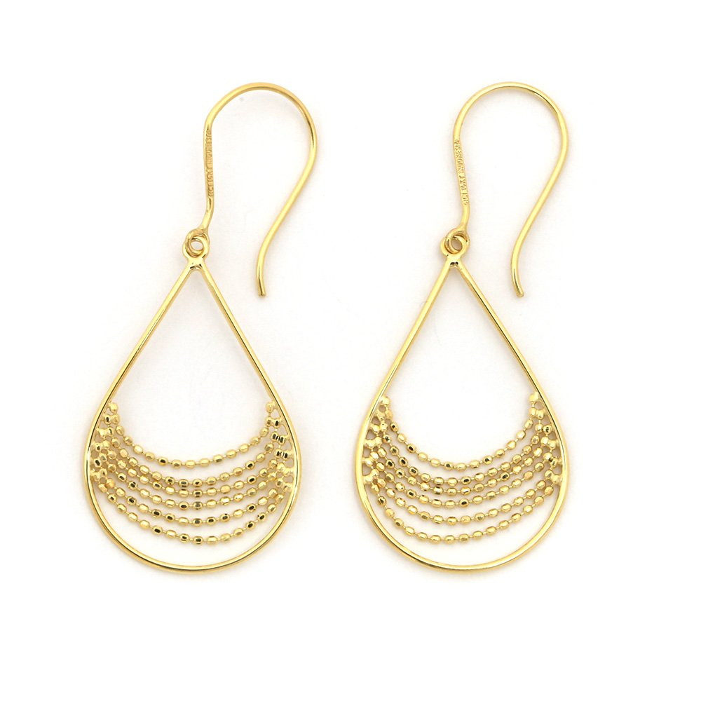 "14k Yellow Gold Beaded Teardrop Dangle 1.9"" Earrings"