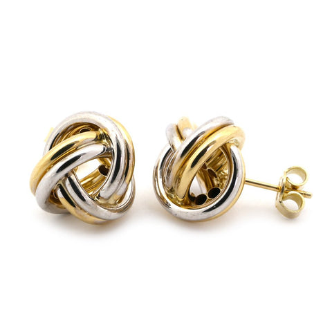 14k White and Yellow Gold Large Shiny Love Knot Earrings