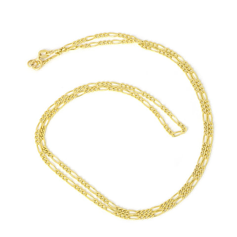 Beauniq Boys' 14k Yellow Gold Diamond Cut 1.8mm Figaro Chain Necklace, 13""