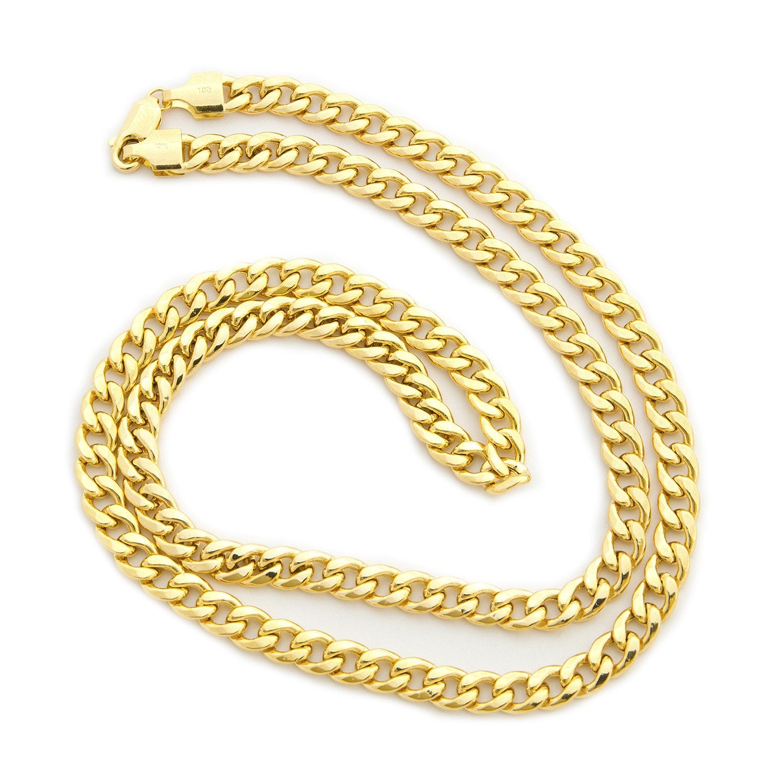 61bd3532cce3a Men's 14k Yellow Gold Lightweight Heavy Miami Cuban Link Chain ...