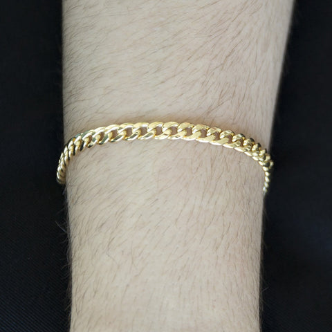 Men's 14k Yellow Gold Lightweight 6mm Heavy Miami Cuban Link Chain Bracelet, 8.5""