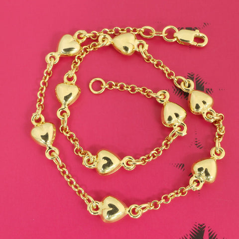 "Beauniq 14k Yellow Gold Heart Station Adjustable Anklet - 9"" - 10"""