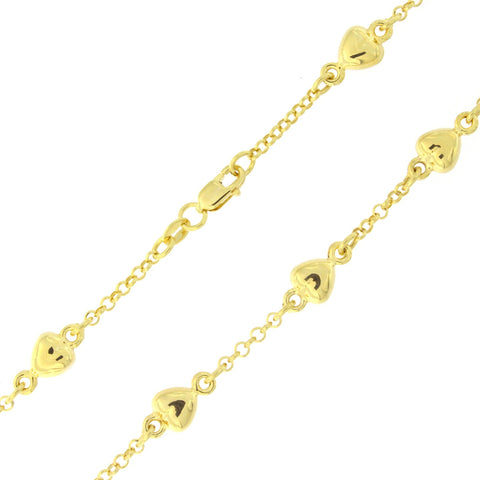 14k Yellow Gold Heart Station Chain Bracelet, 7""