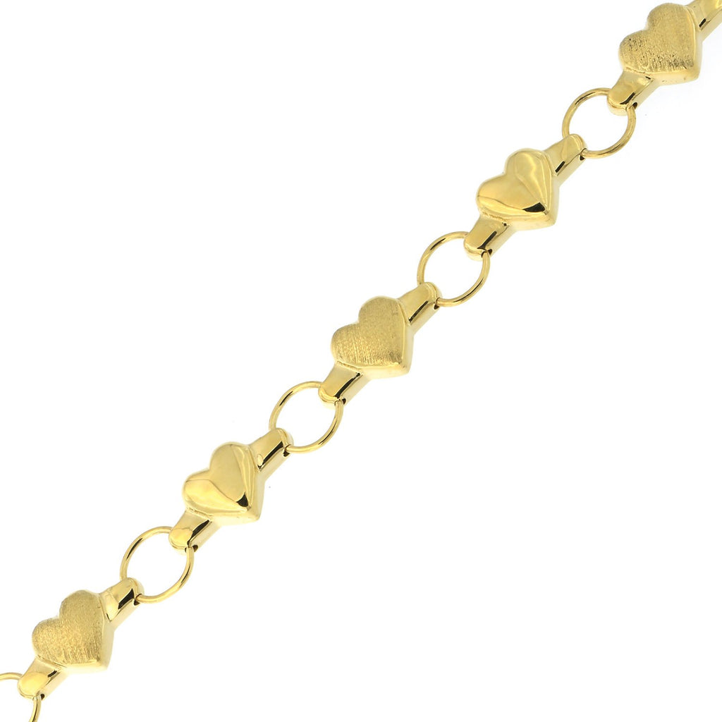 14k Yellow or White Gold Matte and Polished Finish Heart Link Bracelet, 7""