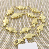 14k Yellow Gold Matte and Polished Finish Heart Link Bracelet, 7""