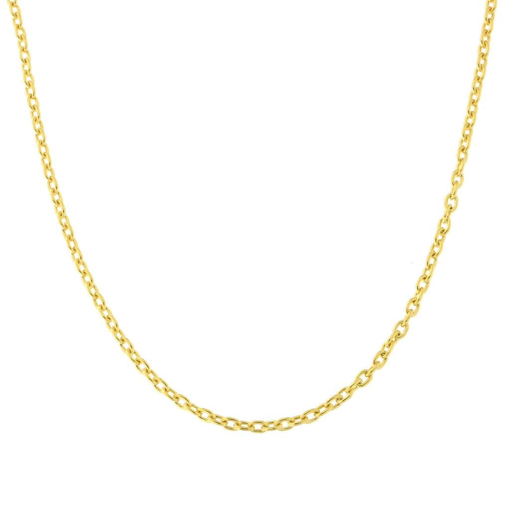 "Beauniq 18k Yellow or White Gold 1.5mm Cable Chain Necklace, 16"" 18"""