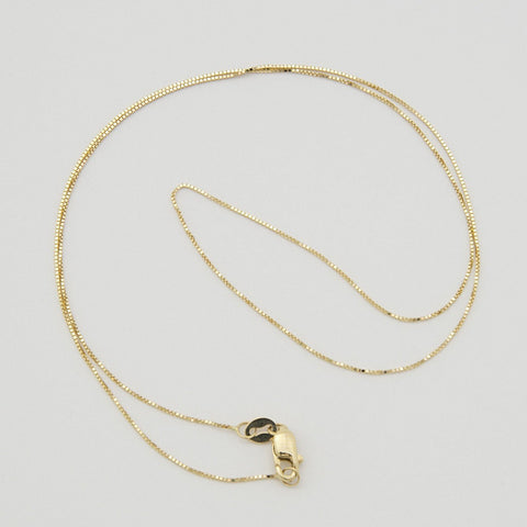Beauniq 14k Yellow Gold 0.5mm Box Chain Necklace with Lobster Lock, 16""