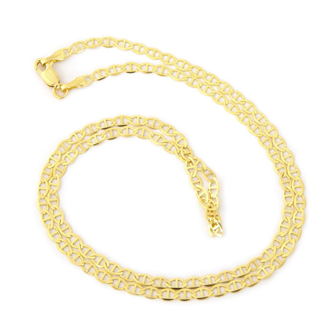 Beauniq Solid 14k Yellow Gold 3.2mm Mariner Chain Necklace, 16""