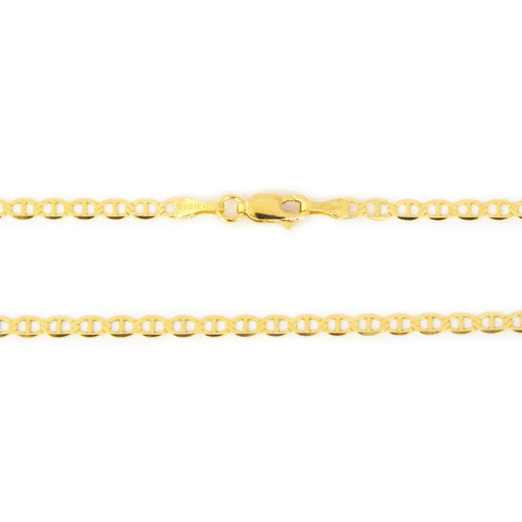 Solid 14k Yellow Gold 3.2mm Mariner Chain Bracelet, 7""