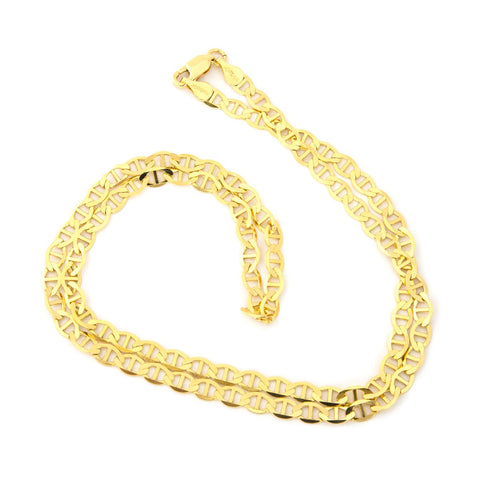 Solid 14k Yellow Gold 4mm Mariner Chain Necklace, 18""