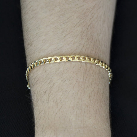 Solid 14k Yellow Gold 4.5mm Heavy Miami Cuban Link Chain Bracelet, 8.5""