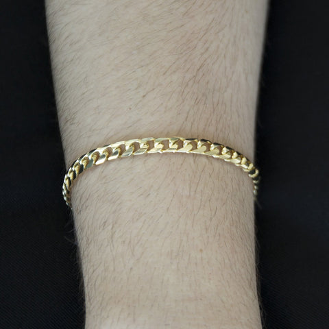 Solid 14k Yellow Gold 5.5mm Heavy Miami Cuban Link Chain Bracelet, 8.5""