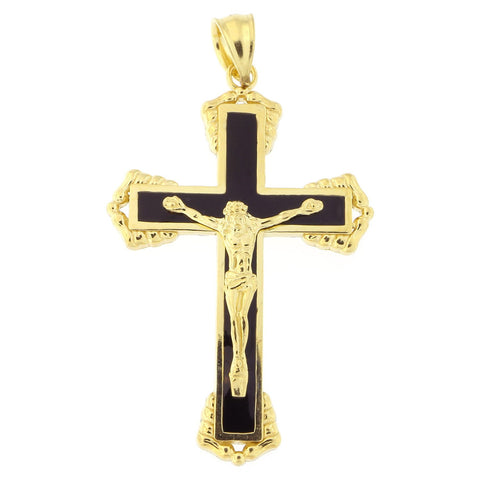 "Men's 14k Yellow Gold Black Enamel 1.4"" Crucifix Cross Pendant"