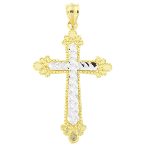 "Beauniq 14k Yellow and White Gold Two-Tone Diamond Cut 1.25"" Budded Cross Pendant"