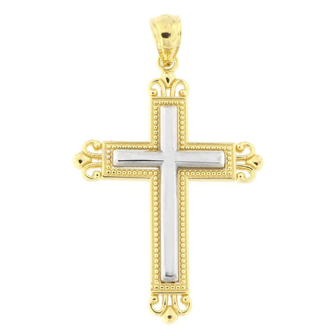 "Beauniq 14k Yellow and White Gold Two-Tone Filigree 1.25"" Cross Pendant"