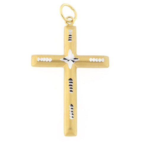 "Beauniq 14k Yellow and White Gold Two-Tone Matte Finish Diamond Cut 1.25"" Cross Pendant"