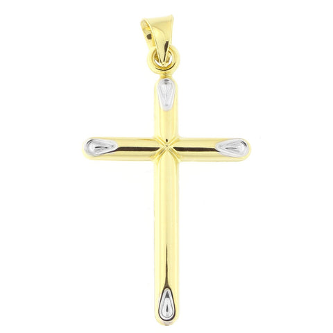 "14k Yellow Gold with White Gold Points Two-Tone 1"" Cross Pendant"