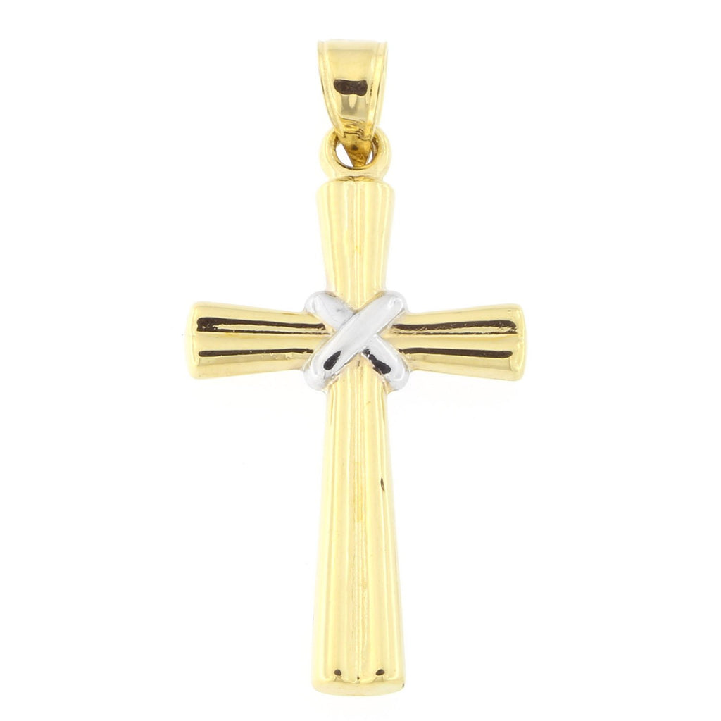 "Beauniq 14k Yellow and White Gold Two-Tone Tied in Center 1"" Cross Pendant"