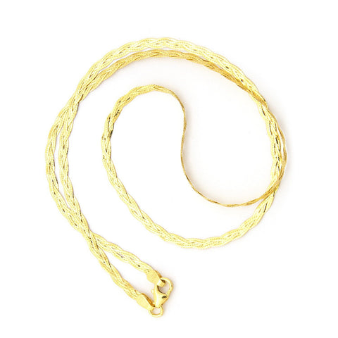 14k Yellow Gold 3mm Braided Fox Chain Necklace, 16""