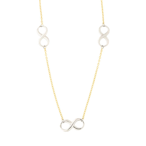 14k Yellow and White Gold Two Tone Figure Eight Infinity Link Station Necklace, 18""