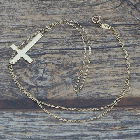 "Beauniq 14k Yellow Gold Offset Sideways Cross 16"" - 18"" Necklace"