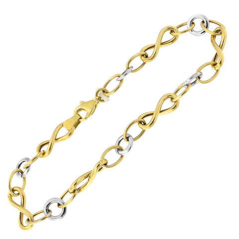 14k Yellow and White Gold Two-Tone Infinity and Round Link Bracelet, 7.5""
