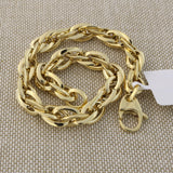 14k Yellow Gold Lightweight Oversized Rope Link Bracelet, 7.5""