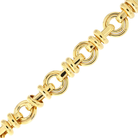 14k Yellow Gold Lightweight Dangling Links Open Circle Bracelet, 7.5""
