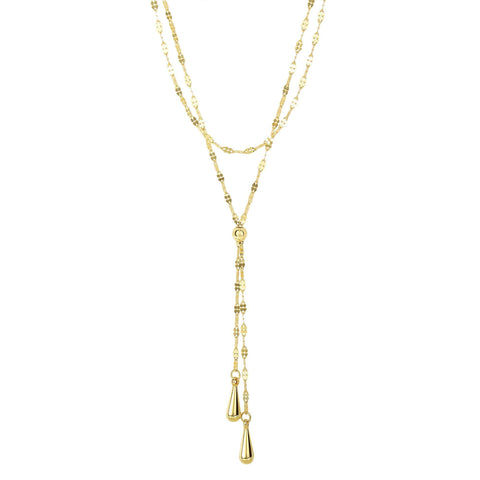 14k Yellow Gold Double Layer Fancy Link Chain Teardrop Lariat Y Necklace, 17""