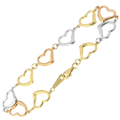 14k Yellow, White and Rose Gold Tri-Color Open Heart Link Bracelet, 7.5""