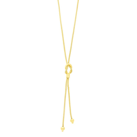 14k Yellow Gold Diamond Cut Popcorn Chain Lasso Knot Lariat Necklace, 17""